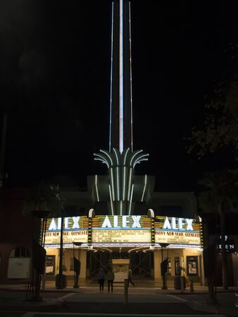 GLENDALE, CA/USA - JANUARY 6, 2019: The Marquee of the Historic Alex Theatre in Glendale California