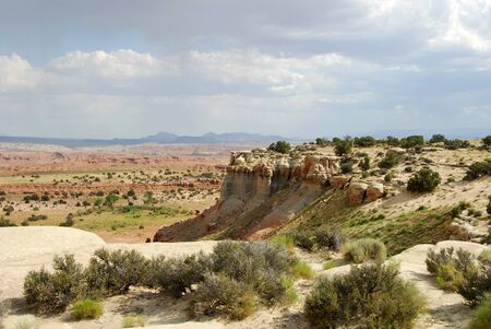Colorful sandstone mountains and valleys in southern Utah.