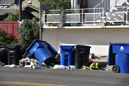 LOS ANGELES, CA/USA - JUNE 19, 2019: Trash strewn on the streets of Los Angeles after being ransacked by homeless people