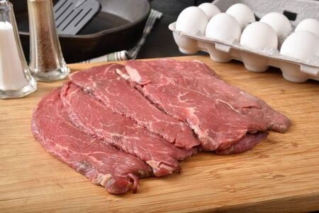 Thin sliced beef steak with dairy fresh eggs waiting to be cooked in a cast iron skillet