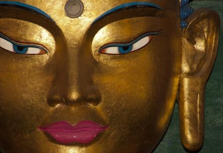 Buddha Statue Head, Namdroling Monastery, India Banco de Imagens