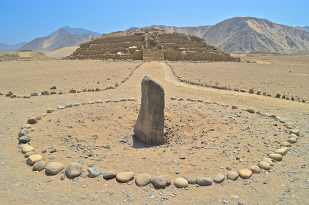 Caral,  the most ancient city in the Americas. Located in Supe valley, 200km north of Lima, Peru 免版税图像