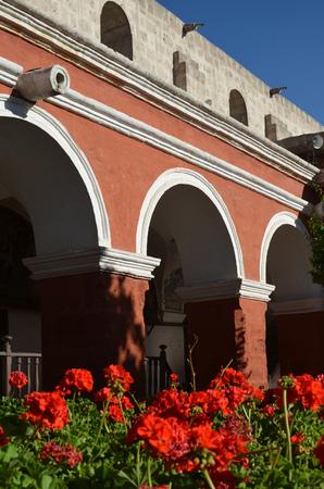 Painted walls and doorways in the Santa Catalina monastery, Arequipa, Peru Stock Photo