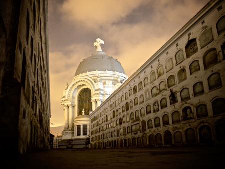 Lima, Peru - October 2013: An evening tour of the Presbitero Maestro Cemetery