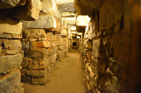 Underground tunnels within the main temple of Chavin de Huantar, Ancash, Peru Stock Photo