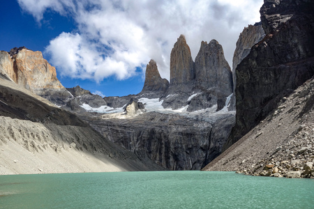 Base of the Towers (Base Las Torres), Torres del Paine National Park, Chilean Patagonia Stock Photo