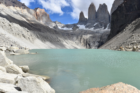 Base of the Towers (Base Las Torres), Torres del Paine National Park, Chilean Patagonia Banco de Imagens
