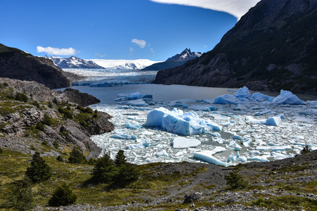 Lake Grey and the Grey Glaciar in the Southern Patagonian Ice field, Torres del Paine National Park, Chile