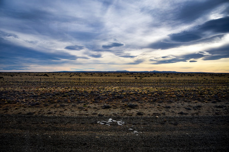 Sunset on the Patagonian Steppe, between El Calafate, Argentina and Puerto Natales, Chile 写真素材