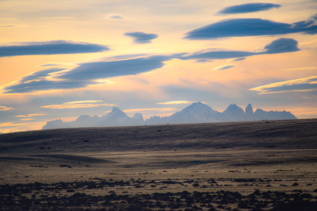 Sunset on the Patagonian Steppe, between El Calafate, Argentina and Puerto Natales, Chile Archivio Fotografico