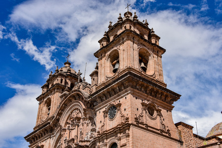 March 30, 2018 - Cusco, Peru: Plaza de Armas and Church of the Society of Jesus or Iglesia de la Compania de Jesus