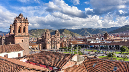 Panoramic view of the Plaza de Armas, Cathedral and Compania de Jesus Church in Cusco, Peru