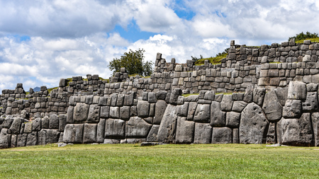 Inca stone walls at the Sacsayhuaman archaeological site, Cusco (Cuzco), Peru
