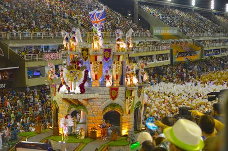 Dancers and floats make their way through the Sambadrome at the Rio Carnival. Rio de Janeiro, Brazil