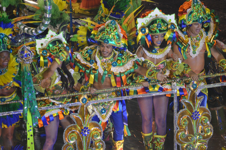 Dancers perfrom in the Sambradome duing the Carnival of Rio de Janeiro, a festival held every year before Lent and considered the biggest carnival in the world Editorial