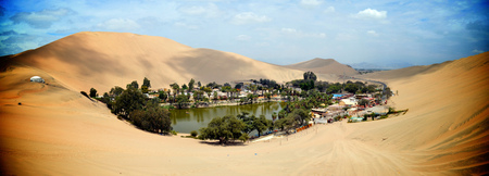 Huacachina, a desert oasis and tiny village just west of the city of Ica in southwestern Peru
