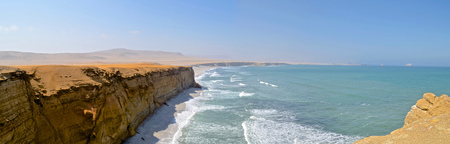Paracas National Reserve, Ica, Peru. One of the biggest protected desert reserves in South America, spanning over 200000 hectares of desert and ocean
