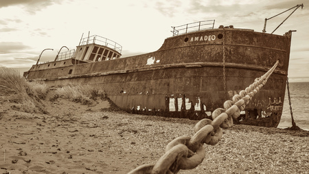 Old Shipwreck on the Magellan Straits, Chile
