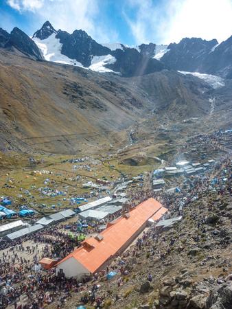 Pilgrims at the annual Qoyllur Riti festival near Cuzco, Peru Stock Photo