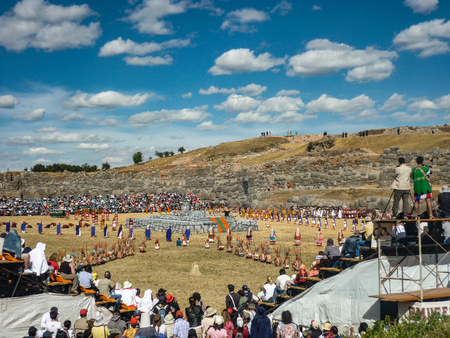 The Inca Festival of Inti Raymi being celebrated at the Sacsayhuaman site, Cusco, Peru
