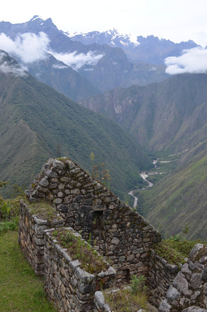 Inca ruins at Winay Wayna on the Inca Trail to Machu Picchu, Peru Stock Photo