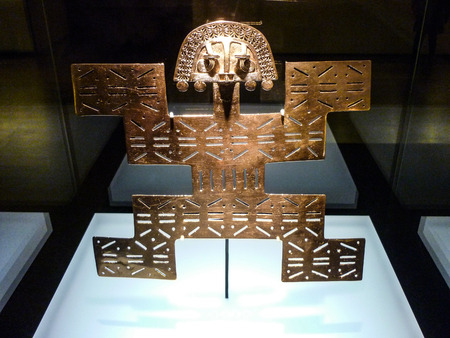 Nov 29, 2014 - Bogota, Colombia: Gold artifacts on display in the Museo del Oro (Gold Museum). Editorial