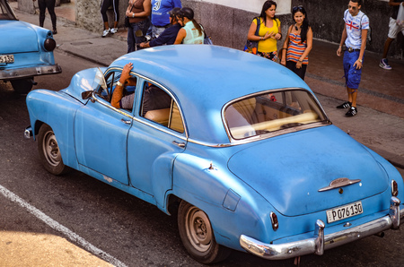 Classic 1950s American cars  automobiles on the streets of Havana, Cuba