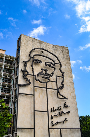 The Image of Che Guevara on the side of the Ministry of the Interior building in Plaza de la Revolucion, Havana, Cuba Editorial
