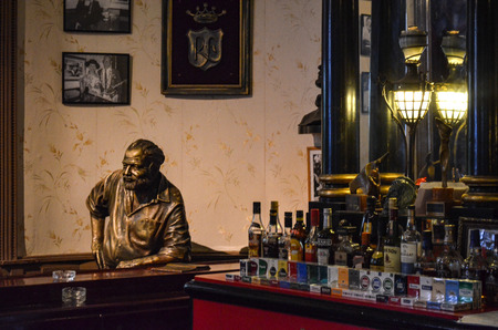 La Floridita bar in old Havana. A favourite drinking spot of Ernest Hemingway and the home of Daiquiris and Mojitos