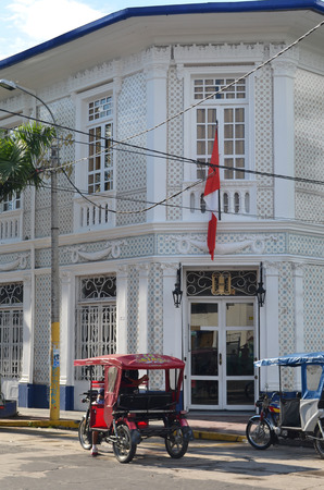 Iquitos, Peru - Sept 2015: The Casa Morey, a classic rubber boom era mansion on the banks of the Amazon river