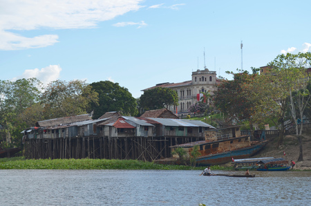 Floating houses on the Itaya river, in Iquitos, in the Peruvian Amazon