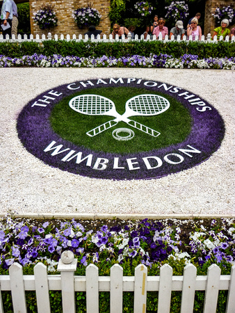 London, UK - July 2014: Flower arrangement at The Wimbledon Tennis Championships
