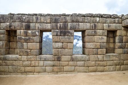 The Temple of the Three windows at Machu Picchu, an ancient Inca archaeological site near Cusco, Peru Banco de Imagens