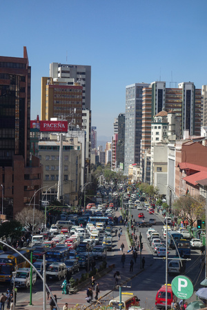 View along Mariscal Santa Cruz Avenue, the main thoroughfare in downtown La Paz, Bolivia Editorial