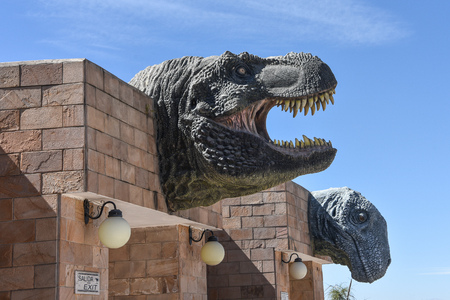 Dinosaur models at the entrance to Parque Cretacico (Cretaceous Park), in Sucre, Chuquisaca Department, Bolivia