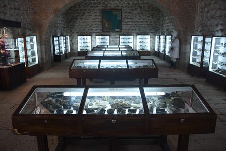 Minerals and gemstones on display in the Casa Real de la Moneda museum in Potosi, Bolivia Editorial