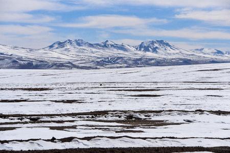 Winter landscapes near Laguna Colorado in the Reserva Eduardo Avaroa National Park, Uyuni, Bolivia 스톡 콘텐츠