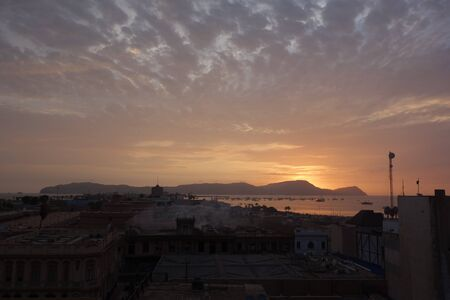 Sunset over the port of Callao. Lima, Peru