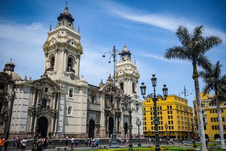 April 7, 2018 - Lima, Peru: Cathedral and Plaza de Armas in Limas historical city center