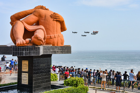 March 18, 2018 - Lima, Peru: Crowds gather on the Costa Verde for the Peruvian Air Forces annual air show
