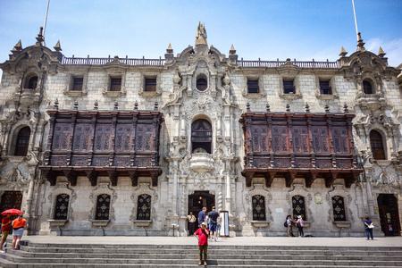 Lima, Peru - April 7, 2018: The elaborate facade of the Archbishops Palace in Limas colonial Plaza de Armas Publikacyjne