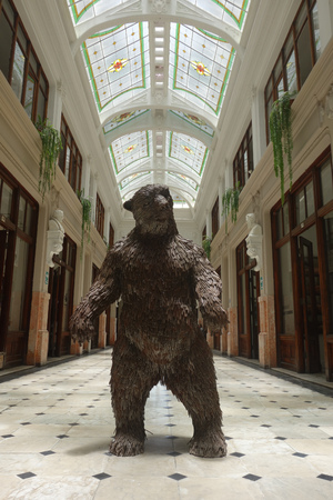 Lima, Peru - March 10, 2019: Bear sculpture in the Casa Ronald Fugaz building at Callao Monumental art project.