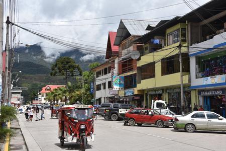 Oxapampa, Peru: Dec 31, 2018: Alpine buildings in the Peruvian town of Oxapampa