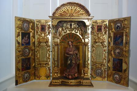 Lima, Peru - Nov 18, 2019: Spanish colonial religious artwork on display in the Pedro de Osma museum.