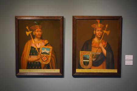 Lima, Peru - Nov 18, 2018: Portraits of Incas Manco Capac and Tupac Yupanqui Archivio Fotografico - 126534762