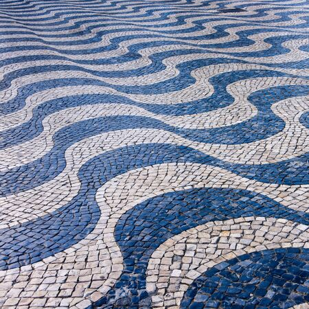 Cascais, Lisbon, Portugal - Black and White mosaic patterns in Cascais, Portugal