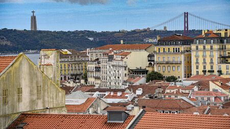 Views over Lisbon and the River Tagus from the castle of Sao Jorge, Alfama 스톡 콘텐츠 - 129484830