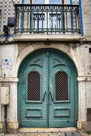 Lisbon, Portugal - Colorful doorways and balconies in the historical district of Belem