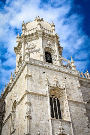 Lisbon, Portugal - July 26, 2019: Stone varving details on Jeronimos Monastery in Belem