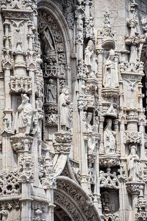 Lisbon, Portugal - July 26, 2019: Stone varving details on Jeronimos Monastery in Belem